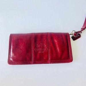 Coach Dark Red Pattern Leather Clutch